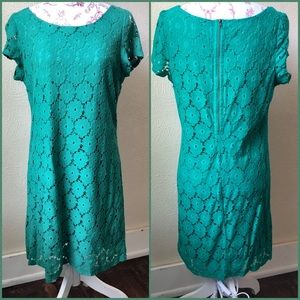 Xhileration Lace Overlay Sheath Dress XL Green